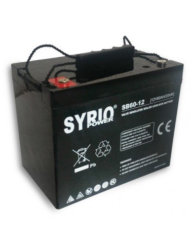 AGM Battery 60AH 12V Syrio Power Off-Grid Solar System Electric Vehicles Marine