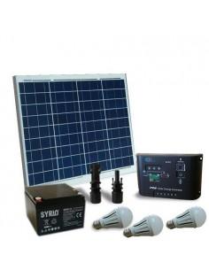 Kit Solare Illuminazione LED 50W 12V Interni Fotovoltaico Batteria AGM 26Ah SB