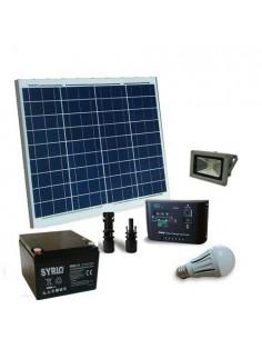 Kit Solaire Eclairage LED 50W 12V Interieur et Externe Batterie AGM 26Ah SB