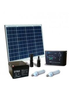 Kit Solare Illuminazione Fluo 50W 12V per Interni Fotovoltaico Batteria 26Ah SB