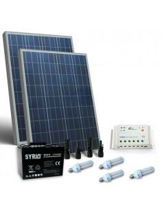 Kit Solare Illuminazione Fluo 160W 12V Interni Fotovoltaico Batteria 100Ah SB