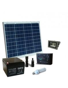 Kit Solare Illuminazione Fluo 50W 12V per Interni ed esterni Batteria 26Ah SB