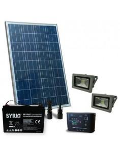 Kit Solare Illuminazione 130W 12V per Esterni Faro LED 30W Batteria AGM 120Ah SB