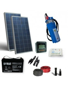 Kit Solaire Pompage d'eau 200W 12V 190L/h Prevalence 40mt Batterie AGM 120Ah SB
