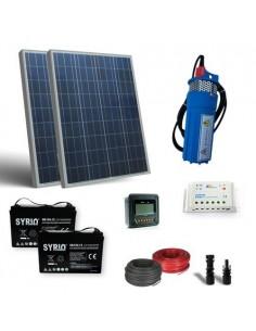 Kit Solaire Pompage d'eau 300W 24V 320L/h Prevalence 40mt Batterie AGM 120Ah SB