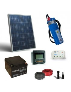 Kit Solar Water Pumping 80W 12V SR 190L/h with prevalence 18mt Battery 26Ah SB