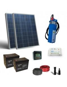 Kit Solare Irrigazione 160W 24V SR 380l/h prevalenza 18m Pompa Batterie 26Ah