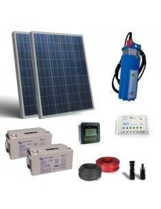 Kit Solare Irrigazione 160W 24V SR 380l/h prevalenza 18m Pompa Batterie 22Ah