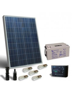 Kit Solar Votiv 80W 12V SR Photovoltaik-Panel Laderegler LED Batterie 60Ah