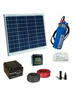 Kit Solar Water Pumping 50W 12V 190L/h Prevalence 18mt AGM Battery 18Ah SB