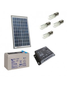 Kit Solare Votivo 30W 12V Pannello Regolatore 5A PWM Batteria 14Ah AGM