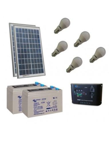 Kit D Eclairage Solaire Led 40w 24v Pour Interieur Photovoltaique Batterie 14ah