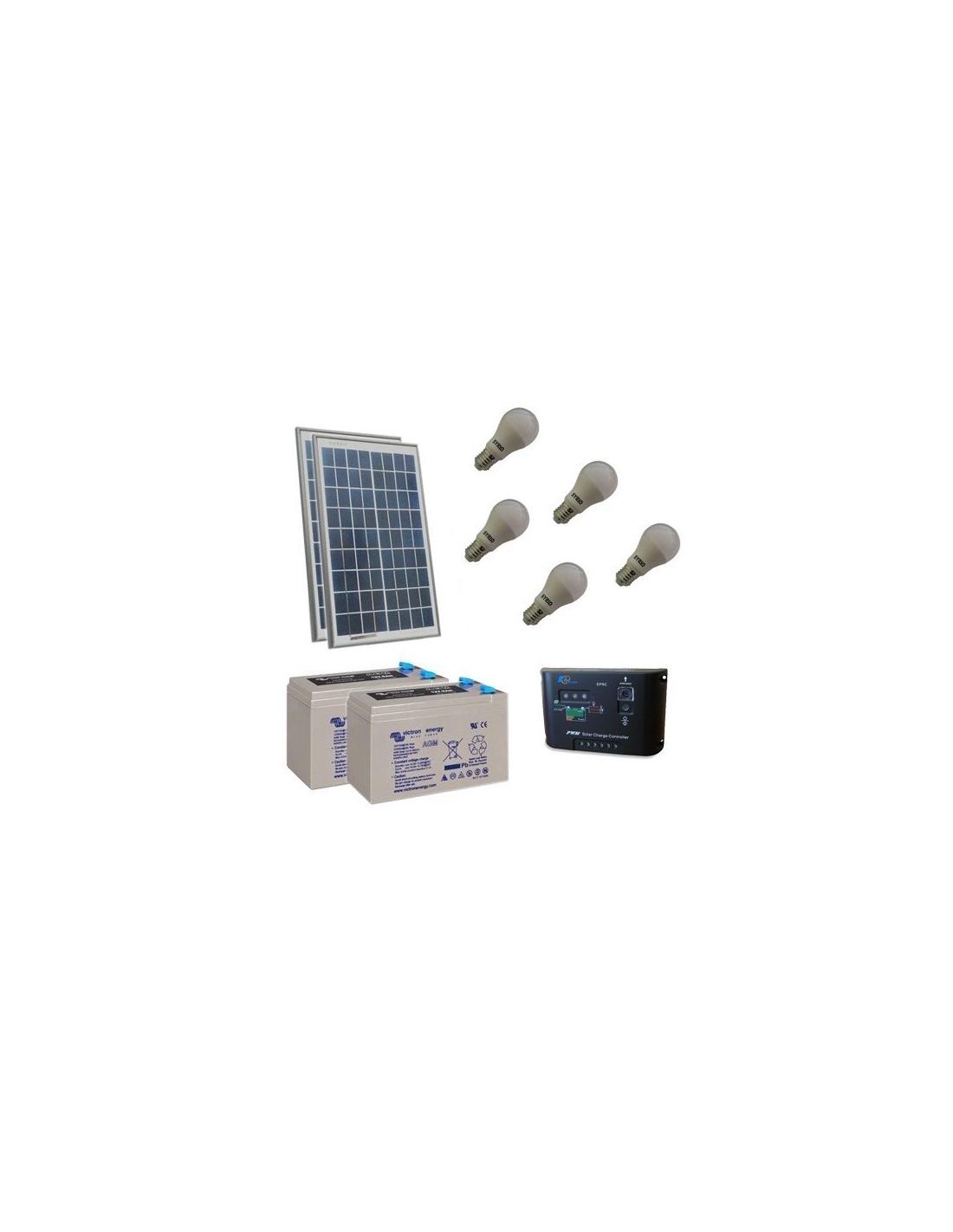 Lampe Energie Solaire Interieur kit d'éclairage solaire led 40w 24v pour intérieur photovoltaique batterie  14ah
