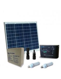 Kit Solare Illuminazione Fluo 60W 12V Interni Fotovoltaico Batteria Super Cycle