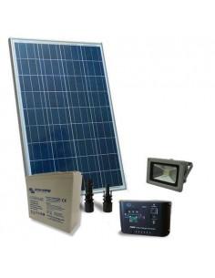 Kit Solare Illuminazione Esterno 80W 12V Batteria Super Cycle 25Ah Faro LED 20W