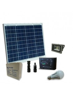 Kit Solare Illuminazione LED 50W 12V Interni esterni Batteria Super Cycle 25Ah