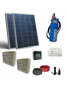 Kit Solar Photovoltaic Water Pumping 80W 24V 380L/h prevalence 18mt Battery 25Ah