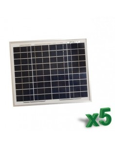 Set 5 x Pannelli Solari Policristallino Fotovoltaico 10W 12V SR tot 50W Camper