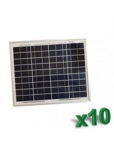 Set 10 x Pannelli Solari Policristallino Fotovoltaico SR 10W 12V tot 100W Camper