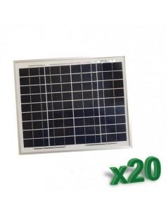 Set 20 x Pannelli Solari Policristallino Fotovoltaico SR 10W 12V tot 200W Camper
