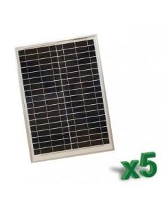 Set 5 x Pannelli Solari Policristallino Fotovoltaico 20W 12V SR tot 100W Camper