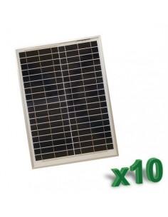 Set 10 x Pannelli Solari Policristallino Fotovoltaico 20W 12V SR tot 200W Camper