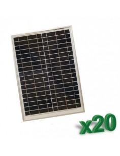 Set 20 x Pannelli Solari Policristallino Fotovoltaico SR 20W 12V tot 400W Camper