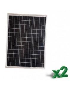 Set 2 x Pannelli Solari Policristallino Fotovoltaico 50W 12V SR tot 100W Camper