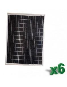 Set 6 x Pannelli Solari Policristallino Fotovoltaico 50W 12V SR tot 300W Camper