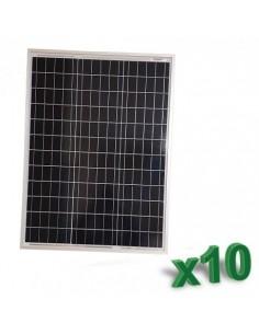 Set 10 x Pannelli Solari Policristallino Fotovoltaico 50W 12V SR tot 500W Camper