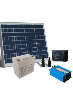 Kit Solare Baita 50W 12V Base Pannello Regolatore Inverter Batteria 22Ah AGM