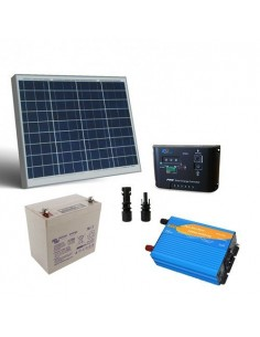 Kit Solaire Chalet 50W 12V Pro Panneau Regulateur Onduleur Batterie AGM 22Ah
