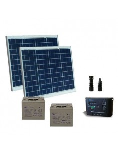 Kit Solaire Portail Electrique 100W 24V Panneau Contrôleur Batterie AGM 22Ah