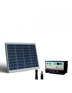 Kit Solare Camper 50W 12V SR Pannello Fotovoltaico, regolatore per due Batterie