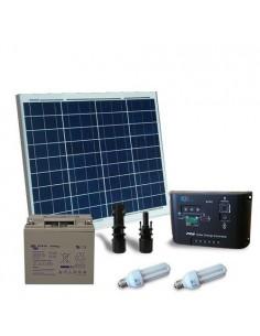 Kit Solare Illuminazione Fluo 50W 12V per Interni Fotovoltaico Batteria 22Ah