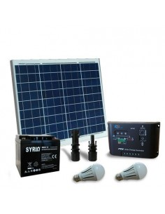 Kit Solare Illuminazione LED 50W 12V Interni Fotovoltaico Batteria AGM 40Ah SB