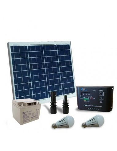 Kit d'éclairage solaire LED 50W 12V pour Intérieur Photovoltaique batterie 40Ah