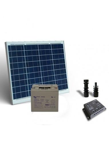 Kit Solare Pro 50W 12V Pannello Fotovoltaico Regolatore 5A-PWM 1xBatteria 24Ah