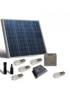 Kit Solaire Votive 50W 12V Panneau Contrôleur 5A Ampoules Batterie AGM 22Ah
