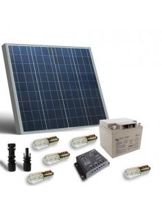 Kit Solaire Votive 50W 12V Panneau Contrôleur 5A Ampoules Batterie AGM 25Ah