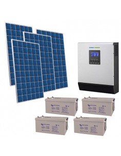 Kit Casa Solare 2.2kW 48V Pro Impianto Accumulo Inverter Batteria AGM 220Ah
