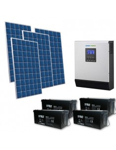 Kit Casa Solare 2.5kW 48V Pro Impianto Accumulo Inverter Batteria AGM 200Ah SB