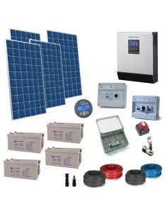 Kit Casa Solare 2.2kW 48V Plus Impianto Accumulo Inverter Batteria AGM 220Ah