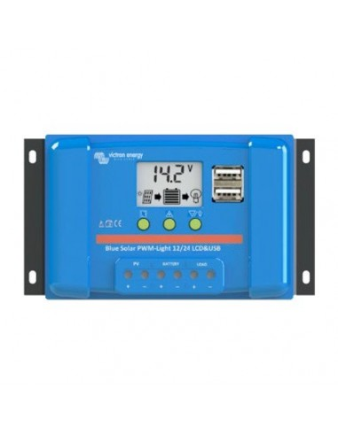 BlueSolar PWM Charge Controller 5A 12/24V LCD Display and USB Victron Energy