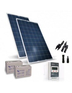 Solar Kit pro 500W 24V Solar Panel Charge Regulator 20A-PWM 2xBattery 80Ah
