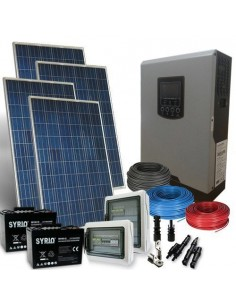 Kit Casa Solare PLUS 1Kw 24V Impianto Fotovoltaico Off-Grid Batterie AGM