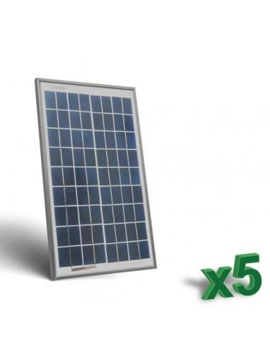 Set 5 x Pannelli Solari Fotovoltaici 10W  12V tot. 50W Camper Barca Baita