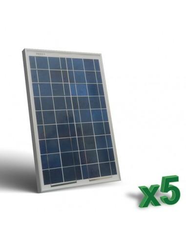 Set 5 x Pannelli Solari Fotovoltaici 20W  12V tot. 100W Camper Barca Baita