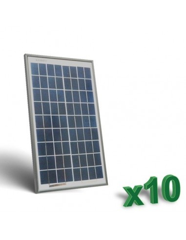 10 x 10W 12 Photovoltaic Solar Panels Set tot. 100W Camper Boat Hut