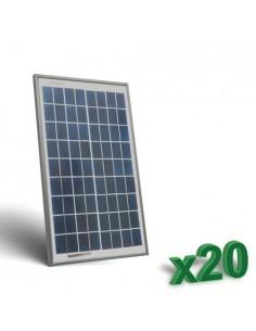 20 x 10W 12V Photovoltaic Solar Panels Set tot. 200W Camper Boat Hut